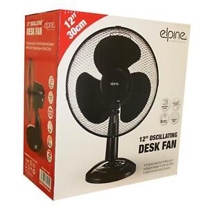 """Black 12"""" Desk Fan Oscillating 3 Speed Heavy Duty Mesh Grill Home UK Pin Plug"""