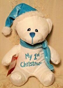 """Dan Dee Baby MY FIRST CHRISTMAS Teddy Bear Stuffed Animal Plush Toy Boy Blue 8"""""""