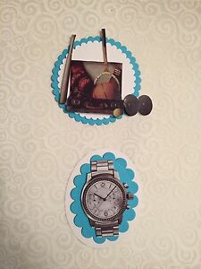 2 x Decoupage Pictures of Mens Watch And Sports Theme Toppers