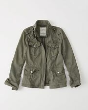 NWT Abercrombie&Fitch Womens Military Twill Shirt Jacket Olive Green Sz M