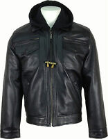 UNICORN Mens Fashion Hooded Real Leather Jacket Black #K4