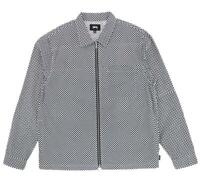 Stussy Mini Checkered Full Zip Long Sleeve Tee Shirt Size M L XL 1110021