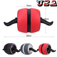 Abdominal Exercise Roller + Knee Pad Mat Workout Fitness Dual Wheel Gym Tool US