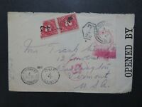 Great Britain 1916 Censored Fieldpost Cover to USA w/ Dues - Z8205