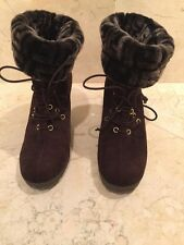 Fendi Brown Suede Wedge Booties With Faux Fur Logo Size 38