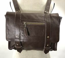 VERE VERTO Brown Repetto Leather Convertible Backpack Messenger Purse Bag-NEW