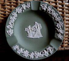 Vintage Sage Green Wedgwood Jasperware Ashtray With Cherub and Women