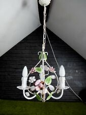 VINTAGE FRENCH/ITALIAN 3 ARM PINK ROSE  TOLE WARE CAGE CHANDELIER