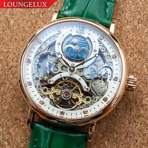 Mens Dual Time Flywheel Automatic Mechanical Watch Rose Gold Green Deployant