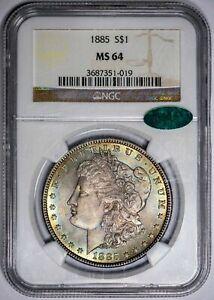 🌈1885 Morgan Silver Dollar NGC MS 64 CAC Unique Vivid Colors