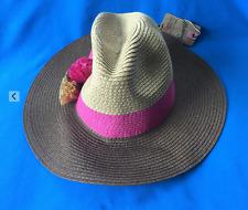 MANTARAY Ladies Hat One Size - Panama Style Hat Brown Pink Beige