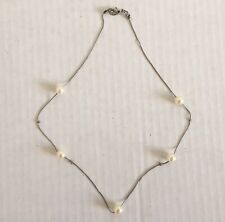 Faux Pearl Silver Colored Chain Lobster Clasp Women's Ladies Chain Necklace
