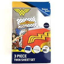 Wonder Woman 3 Piece Twin Sheet Set Microfiber New w/ Defect Tiny Hole Pillowcas
