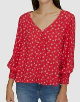 $215 Sanctuary Women's Red Floral V-Neck Balloon Long-Sleeve Blouse Shirt Top S