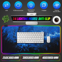 RGB Gaming Mouse Pad Extended Led Glowing Gamer Mousepad Mat w/14 Lightin
