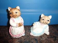Cat Salt Pepper shakers OCI Omnibus Korea Brown Wearing Dresses VTG Ceramic S&P