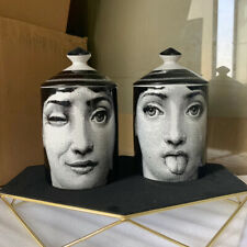 Fornasetti Jar With Lid Big New Ceramic Art Candle Holder Storage Box Home Décor