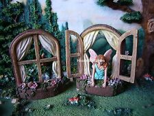 Miniature Garden Fairy Window Set 2 w Fairy  for hanging on a tree  MG 69