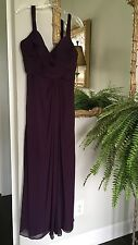 WATTERS & WATTERS Eggplant Purple Chiffon Sleeveless Long Formal Dress; SZ 14