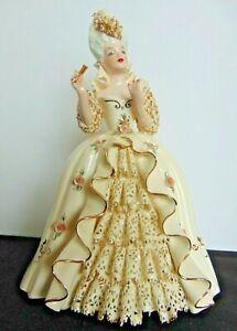 Vintage FLORENCE CERAMICS Porcelain Figurine 'MARIE ANTOINETTE' w/Closed Fan