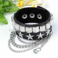 Punk Rock Men Star Rivet Black Leather Bangle Bracelet Cuff Wristband Gothic