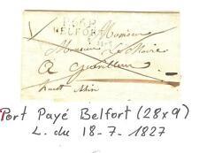 1827 LETTRE EN PORT PAYE BELFORT (28x9) POTHION INDICE 13 = € 120 TB