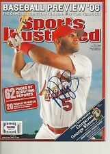 ALBERT PUJOLS Signed SPORTS ILLUSTRATED w/ PSA (NO Label) - GRADED 10