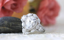 3 Carat Pear Halo Multi-Shaped Heavy Engagement Wedding Ring In 14k White Gold