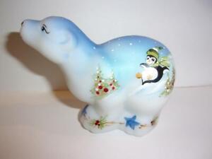 Fenton Glass Sledding Penguins Christmas Polar Bear Figurine Lt Ed Kibbe #9/40