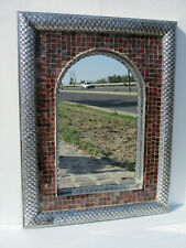 "33"" PUNCHED TIN MIRROR with Mexican vitro glass, hacienda style, handmade"