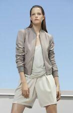 $490 Soia & Kyo Nyla Moto Leather Jacket Bomber Grey Mushroom Large