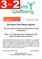 Psyllium Husk 500mg capsules. 50 capsules. 3 FOR 2 SPECIAL OFFER