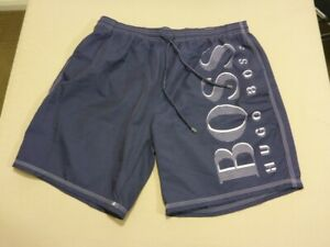 031 MENS NWOT HUGO BOSS NAVY / WHITE PRINT BOARDSHORTS SZE XL ( 36 ) $180 RRP.