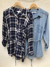 Motherhood Maternity Tops XL Lot Of 2 Button Down Shirt Long Sleeve Plaid