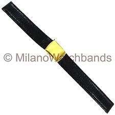13mm Hadley Roma Genuine Lizard Stitched Center Buckle Black Ladies Watch Band