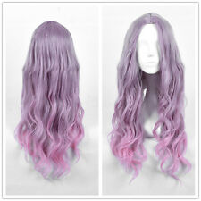 Long Finger Wave Women's Wig Barbie Doll Purple Pink Ombre Hair Wigs