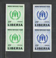 1960 LIBERIA Sc # 388 C124 COMPLETE IMPERFORATE VERTICAL PAIRS  MNH