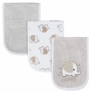 Gerber 3-Pack Neutral Elephant Terry Burp Cloths, White/Beige