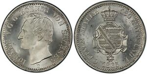 Saxony PCGS 1865 MS 64 1/6 Thaler Silver White Blast Luster Like Made Yesterday
