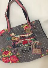 Accessorize NWT London Scene Tote Embellished Charms Applique Embroidery