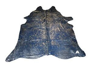 """Silver Acid Washed On Blue Cowhide - (XL7'5""""x6'5"""" Ft) - Premium Cowhide Leather"""