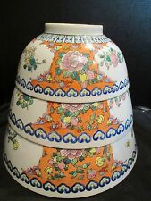 Antique Chinese Rose Medallion Porcelain 3 Matching Bowls Over 18 LBS Total