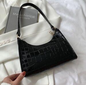 Black Croc Effect Baguette Shoulder Bag