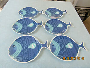 "Set of 6 Plastic/Melamine Mainstays 11"" Fish shaped plates"