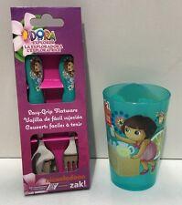 DORA THE EXPLORER KIDS FLATWARE SPOON & FORK CUTLERY SET & DRINKING CUP