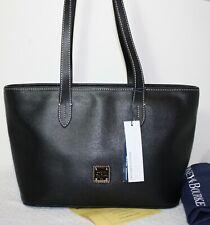 NWT $228 DOONEY & BOURKE Black Leather Zip-Top Shoulder Tote Bag Travel Shopper