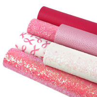 Breast Cancer Theme Printed Glitter Litchi Grain Faux Leather Set For DIY Crafts