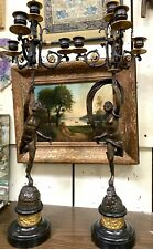 "Pair Of Antique French Bronze Candelabras of ""Mercury and Psyche"""