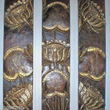 Lotus flower wood carving wall art hanging panel gold & brown Balinese 120cm