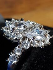 white topaz 925 sterling SILVER filled LADY,S RING size 8.5 us